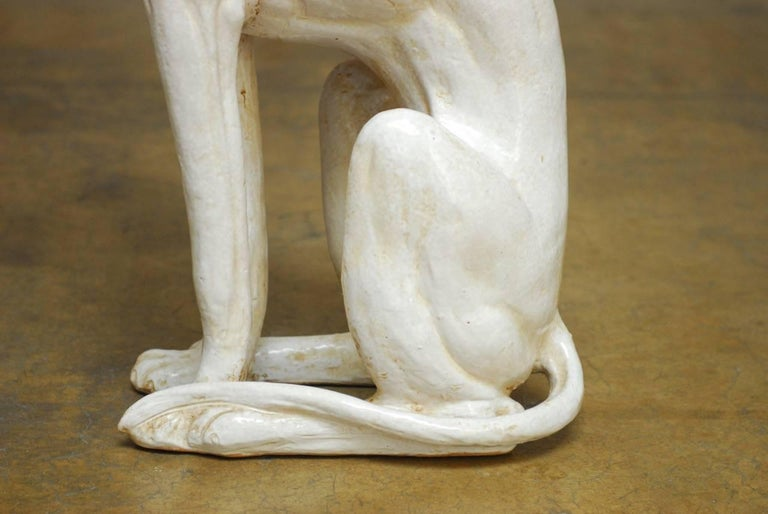 Mid-Century Modern Italian Ceramic Greyhound Dog Sculpture For Sale 1