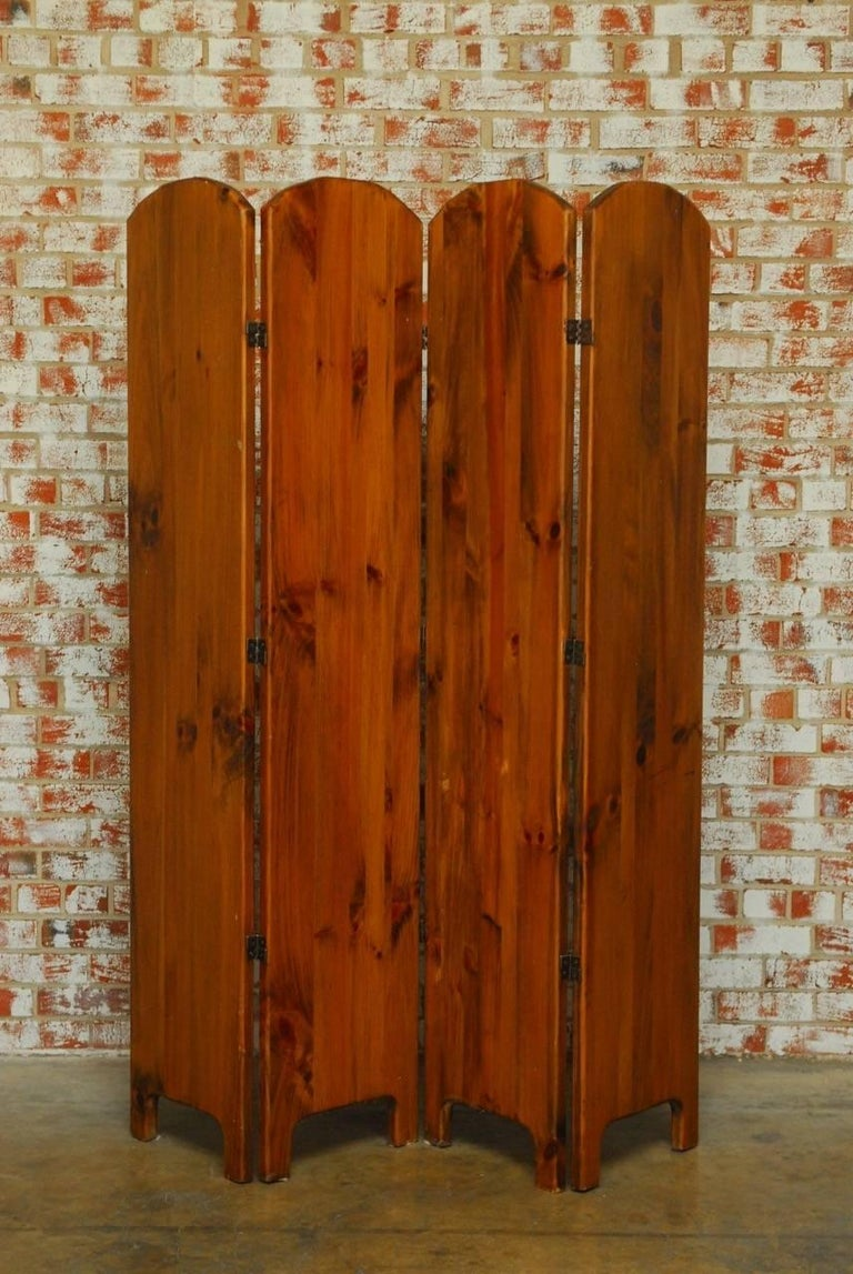 English hand painted fox hunt wooden dressing screen at