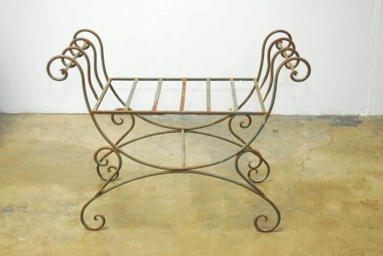Neoclassical Pair of Hollywood Regency Wrought Iron Curule Benches For Sale