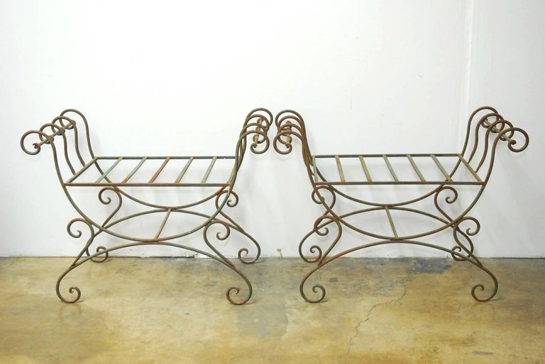 Italian Pair of Hollywood Regency Wrought Iron Curule Benches For Sale