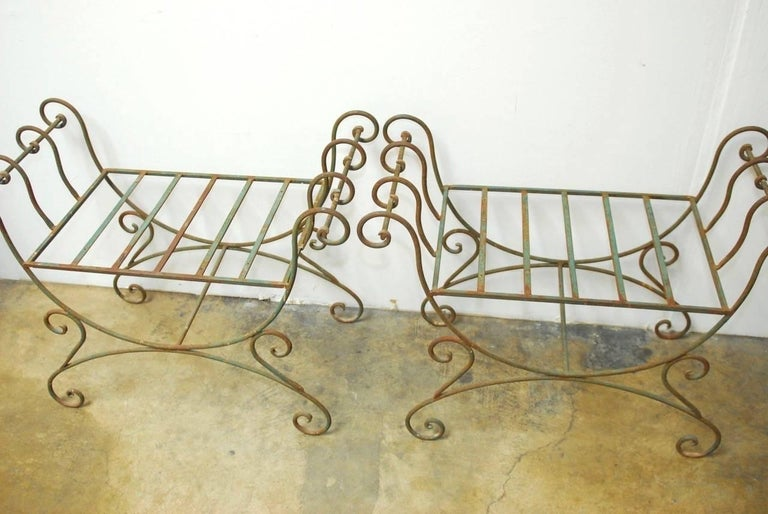 Hand-Crafted Pair of Hollywood Regency Wrought Iron Curule Benches For Sale