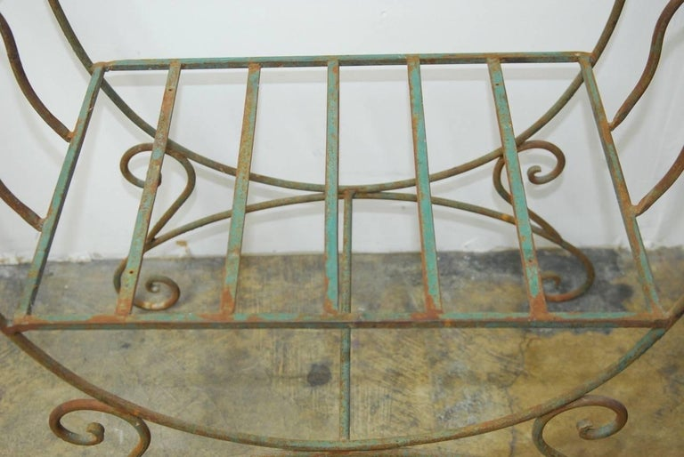 Pair of Hollywood Regency Wrought Iron Curule Benches In Good Condition For Sale In Rio Vista, CA