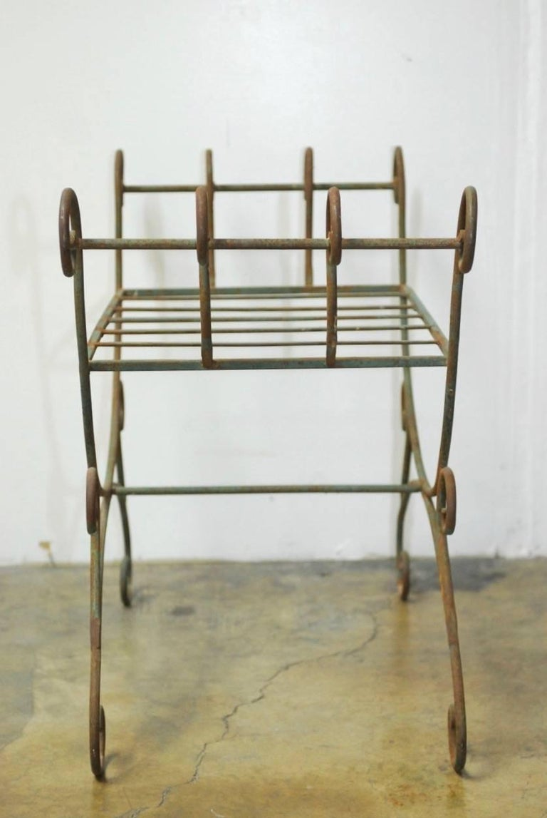20th Century Pair of Hollywood Regency Wrought Iron Curule Benches For Sale