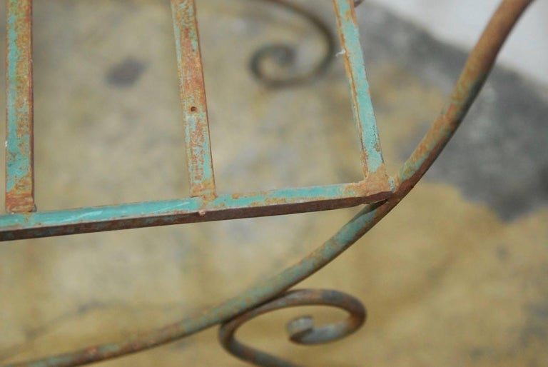 Pair of Hollywood Regency Wrought Iron Curule Benches For Sale 2