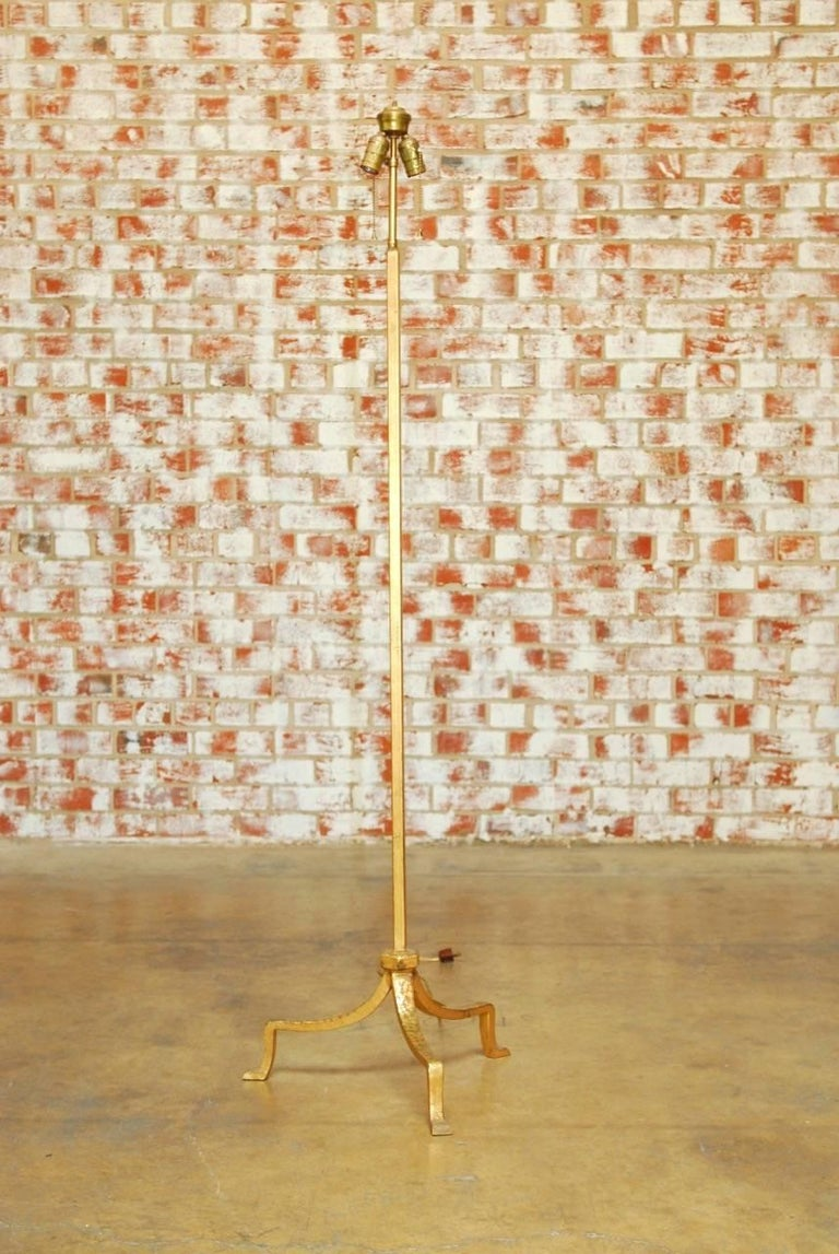 Hollywood Regency Italian Gilded Iron Floor Lamp For Sale