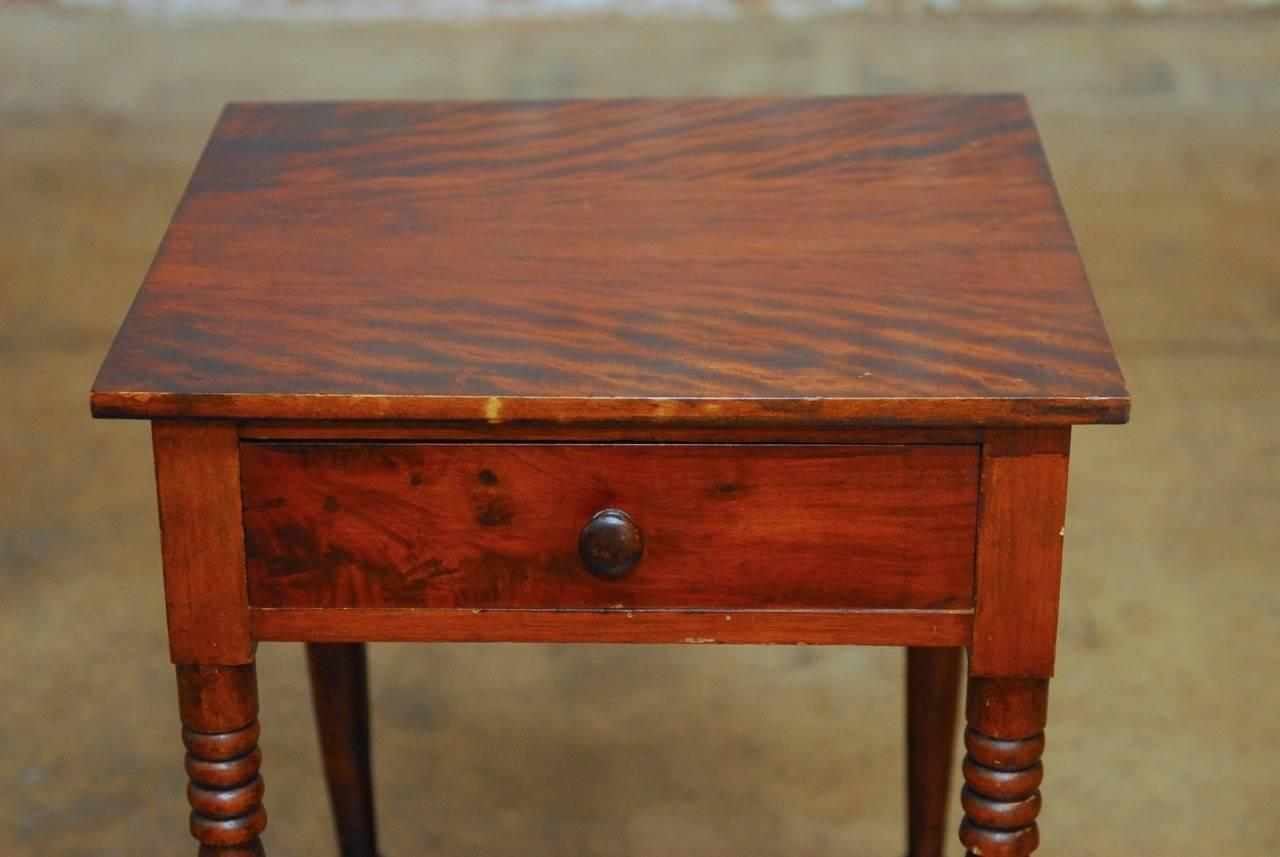 Handsome 19th Century Mahogany Federal Work Table Or Farm Table. Fronted By  One Drawer