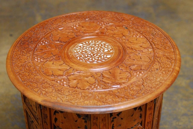 Hand-Crafted Octagonal Teak Tabouret Moroccan Side or Drink Table  For Sale