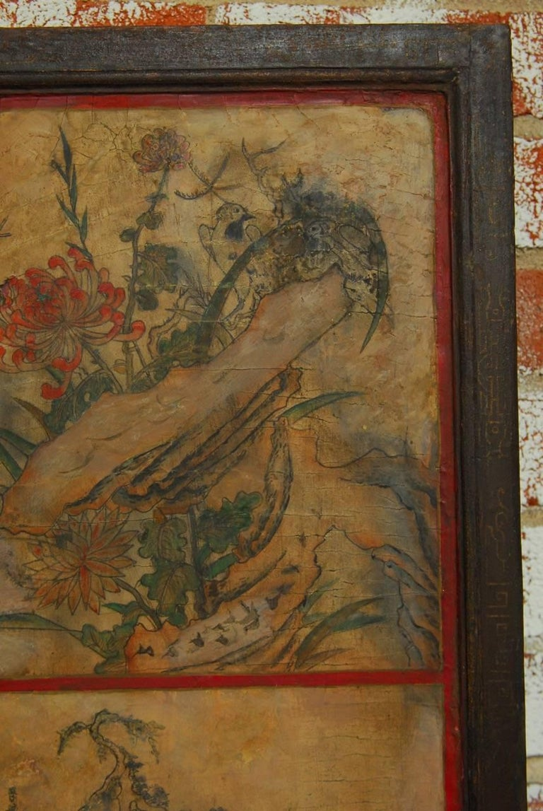 Chinese Qing Dynasty Three Panel Scroll Lacquered Screen