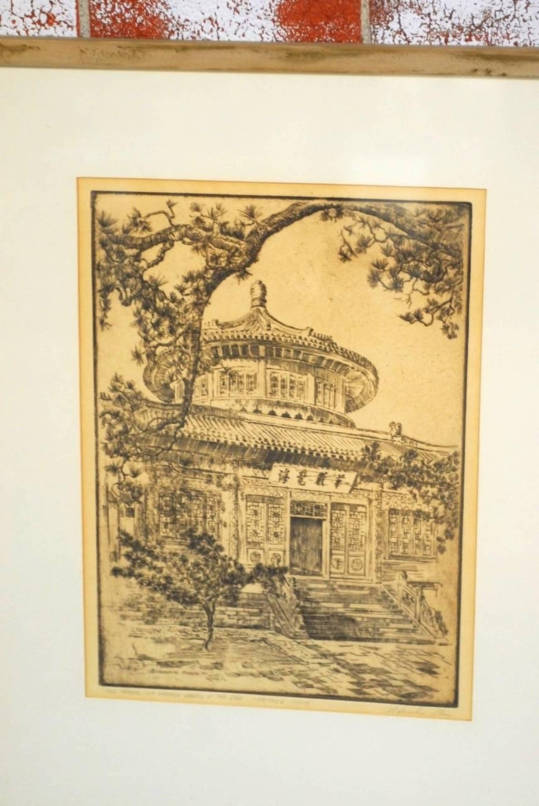 American Alexander Stern Etching Peking, China, 1932 For Sale