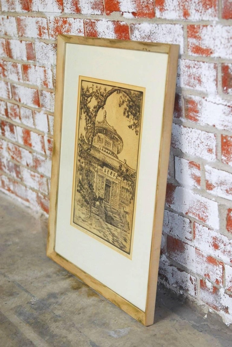 Glass Alexander Stern Etching Peking, China, 1932 For Sale