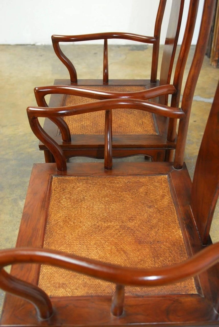 Hand-Carved Pair of Chinese Ming Style Guanmaoyi Official's Armchairs For Sale