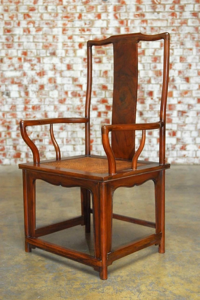 Wood Pair of Chinese Ming Style Guanmaoyi Official's Armchairs For Sale