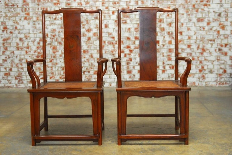 Chinese Export Pair of Chinese Ming Style Guanmaoyi Official's Armchairs For Sale