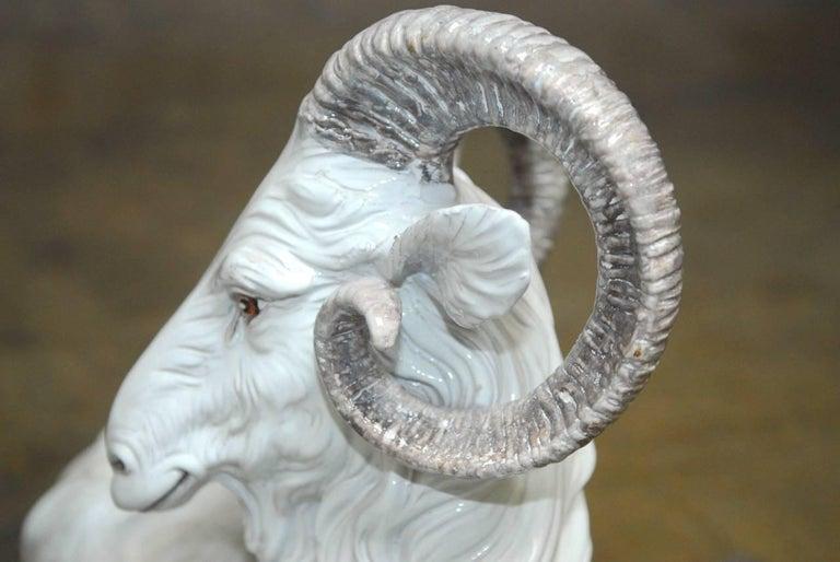 20th Century Italian Majolica Glazed Terracotta Ram  For Sale