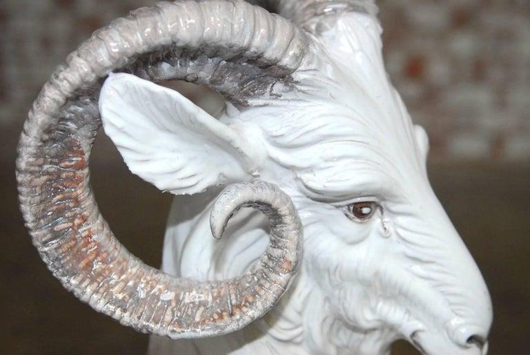 Italian Majolica Glazed Terracotta Ram  For Sale 2