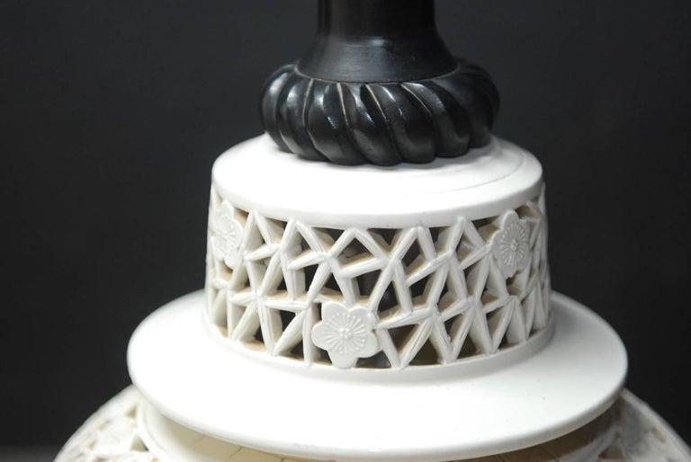 Ebonized Large Midcentury Blanc De Chine Porcelain Jar Table Lamp For Sale