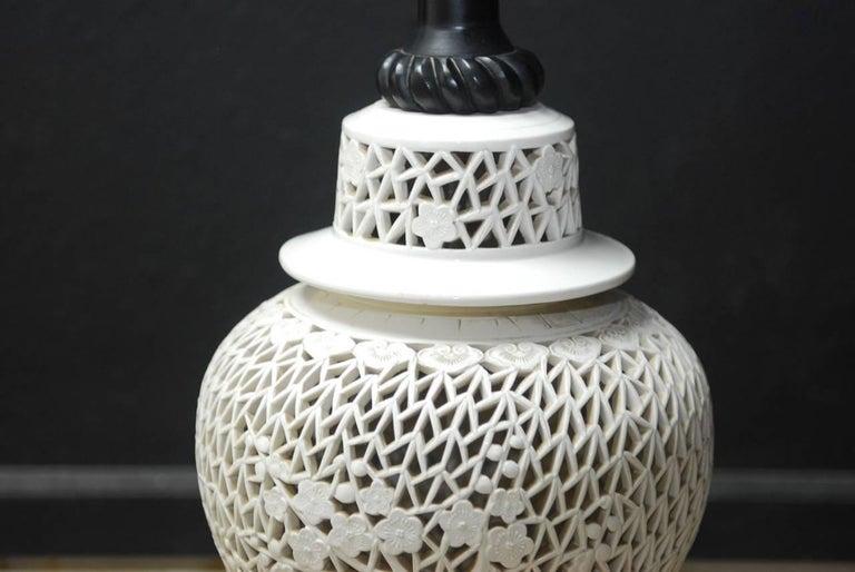 Hollywood Regency Large Midcentury Blanc De Chine Porcelain Jar Table Lamp For Sale