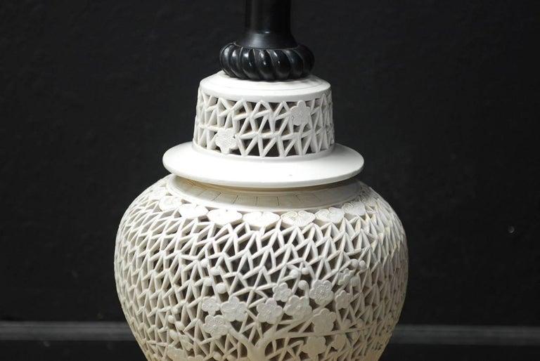 Large Midcentury Blanc De Chine Porcelain Jar Table Lamp For Sale 2