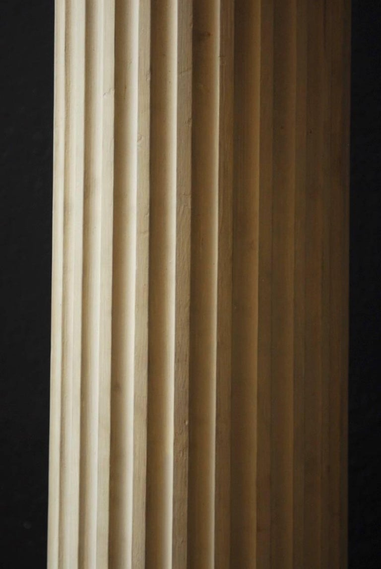 Hand-Crafted Pair of Neoclassical Fluted Wood Columns For Sale