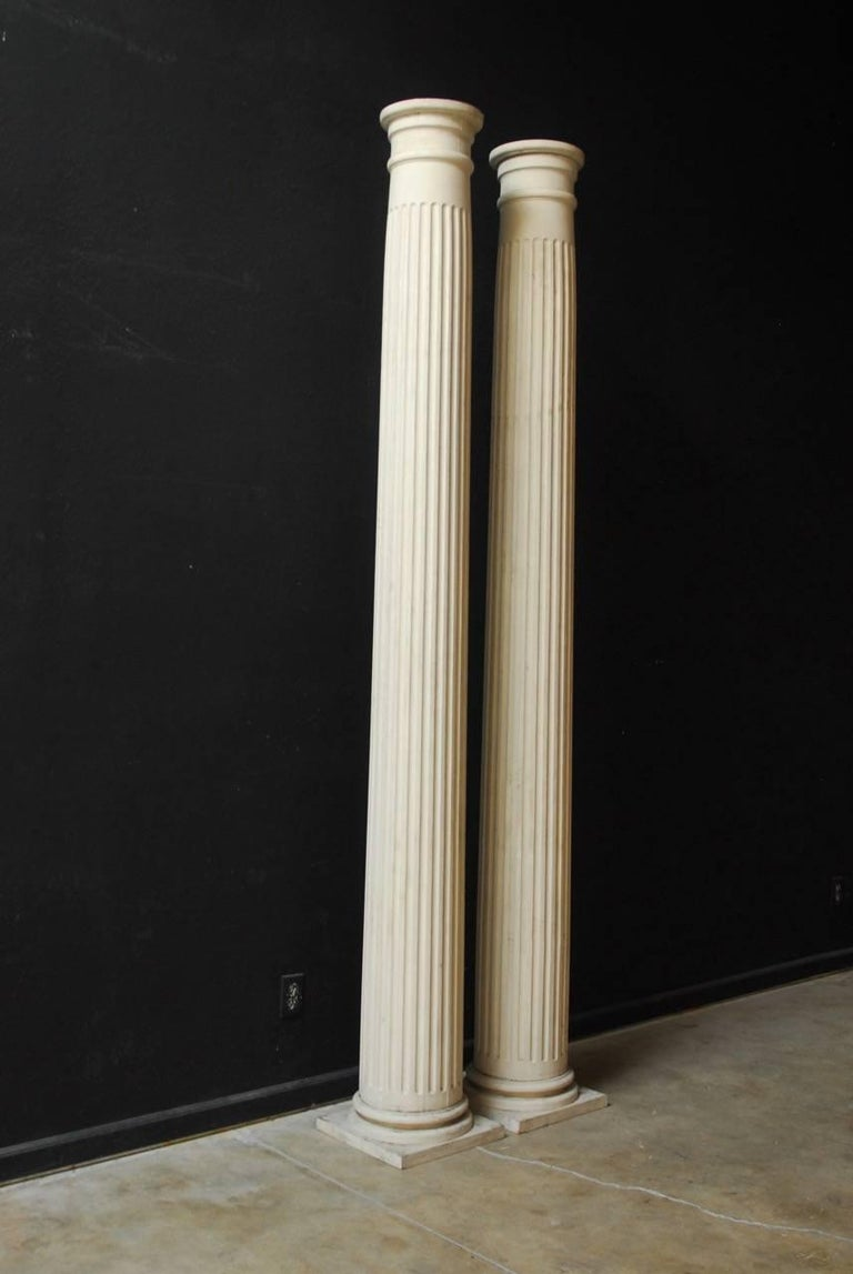 Pair of Neoclassical Fluted Wood Columns For Sale 1