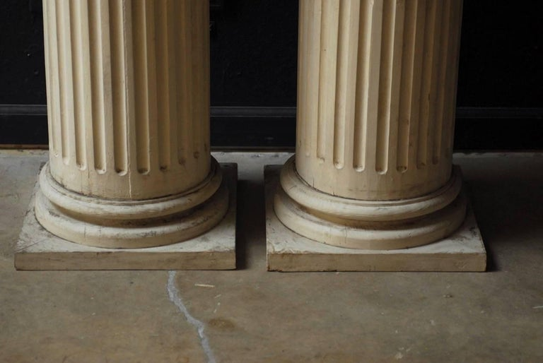 American Pair of Neoclassical Fluted Wood Columns For Sale