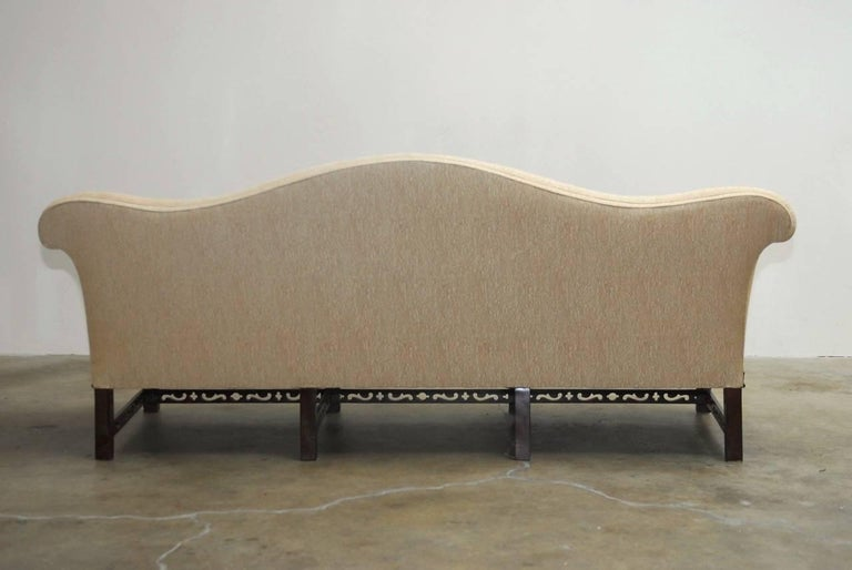 Chinese Chippendale Style Carved Mahogany Camelback Sofa For Sale At 1stdibs