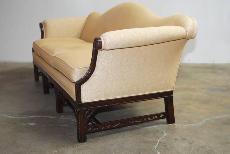 Chinese Chippendale Style Carved Mahogany Camelback Sofa For Sale 2