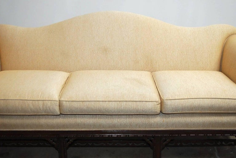 Hand-Crafted Chinese Chippendale Style Carved Mahogany Camelback Sofa For Sale