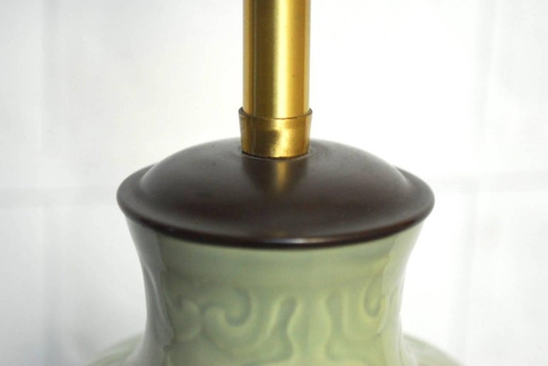 Brass Chinese Porcelain Celadon Glazed Vase Table Lamp by Marbro For Sale