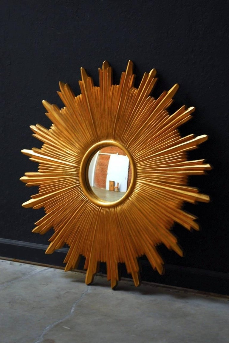 Glorious gold leaf sunburst convex mirror produced by