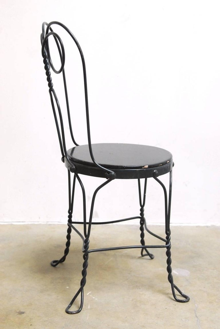 Wrought Iron Set of Four Metal Bistro or Ice Cream Parlor Chairs