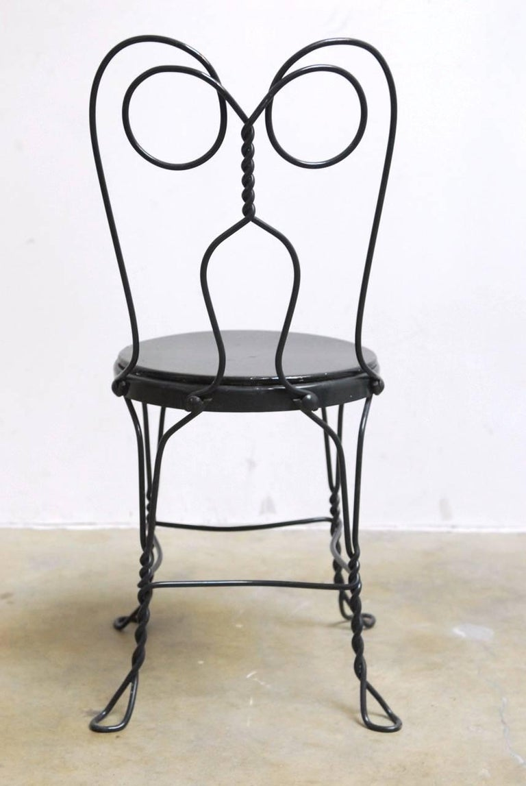 Set of Four Metal Bistro or Ice Cream Parlor Chairs  2