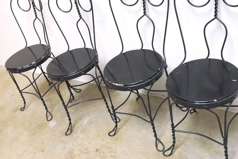 Art Nouveau Set of Four Metal Bistro or Ice Cream Parlor Chairs