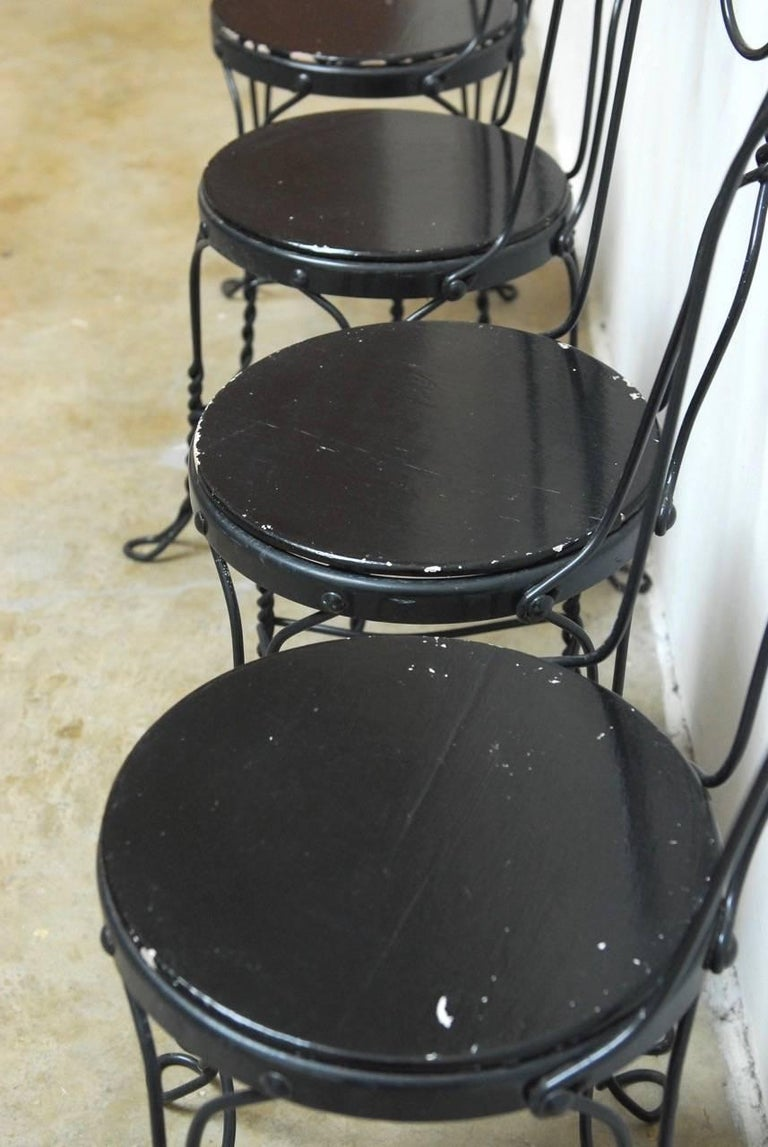 French Set of Four Metal Bistro or Ice Cream Parlor Chairs