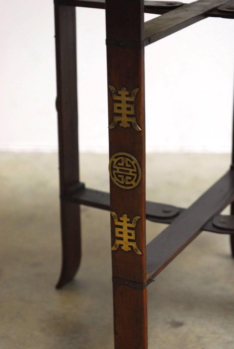 Hand-Crafted Asian Folding Brass Tea Tray Table or Drinks Table  For Sale
