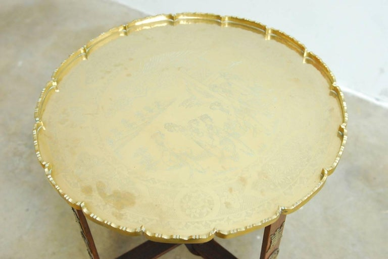 Asian Folding Brass Tea Tray Table or Drinks Table  In Excellent Condition For Sale In Oakland, CA