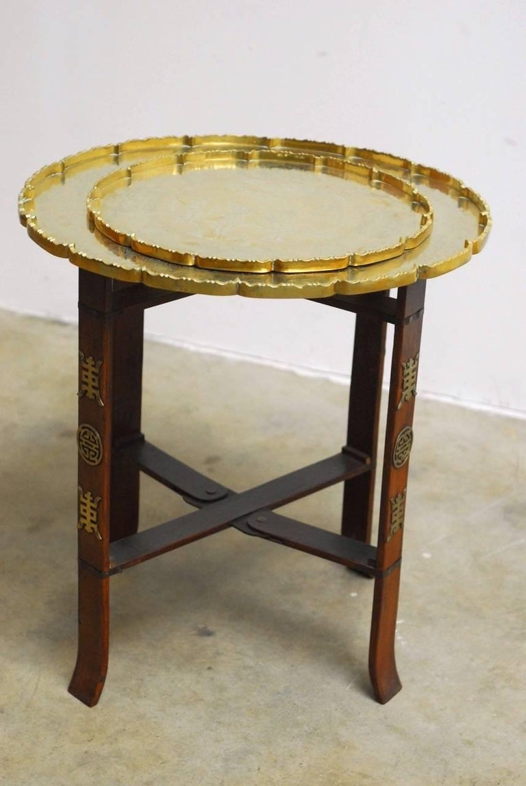 Mid-Century Modern Asian Folding Brass Tea Tray Table or Drinks Table  For Sale