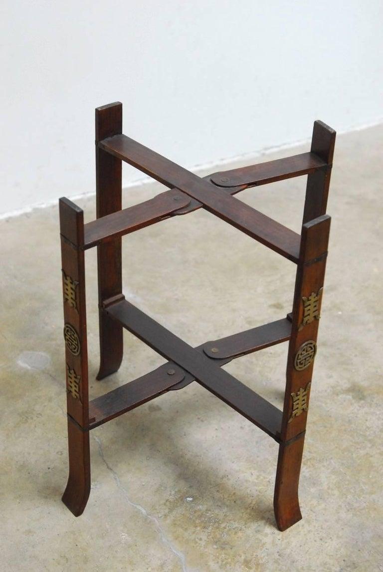 Asian Folding Brass Tea Tray Table or Drinks Table  7