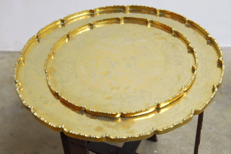 Chinese Asian Folding Brass Tea Tray Table or Drinks Table  For Sale
