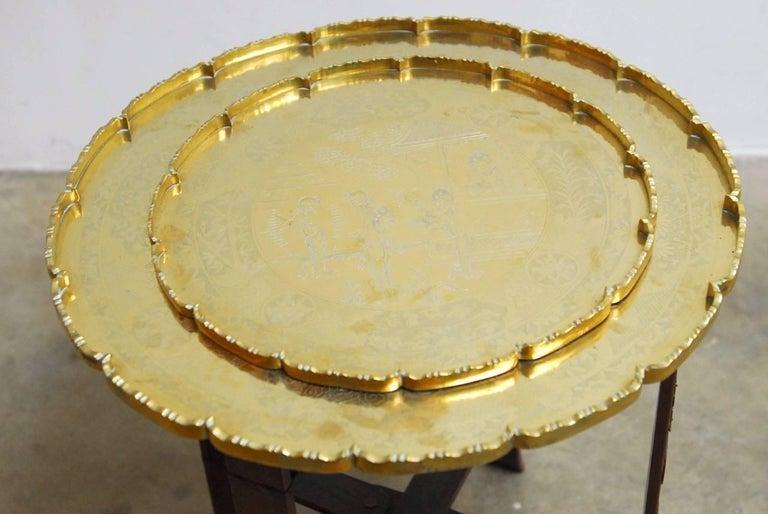 Asian Folding Brass Tea Tray Table or Drinks Table  4