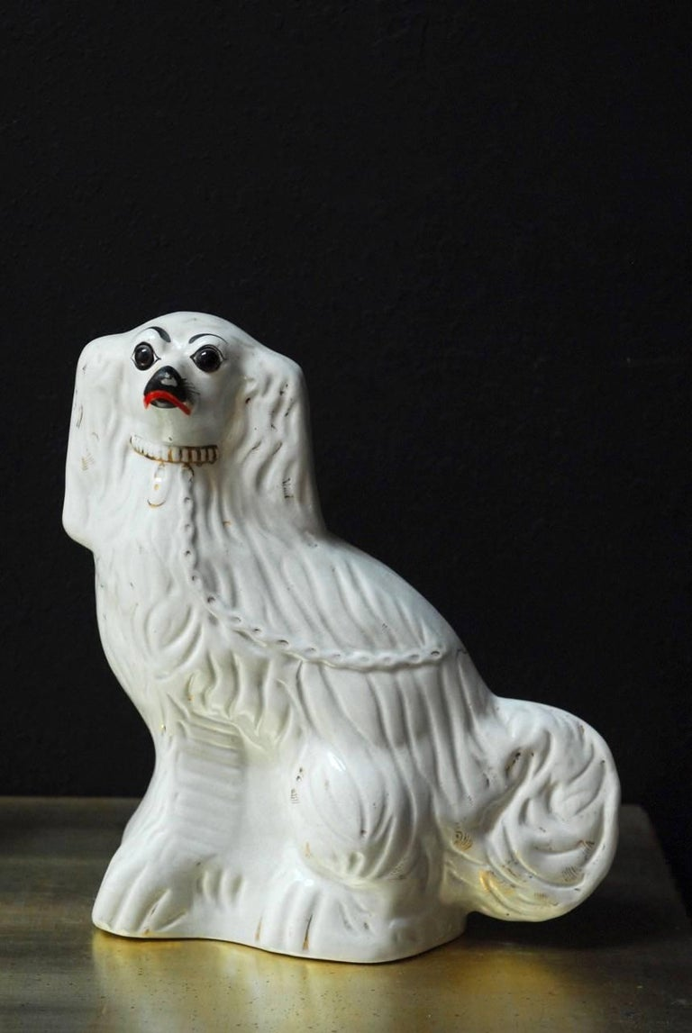 Victorian Pair of English Staffordshire Glazed Ceramic Dogs For Sale