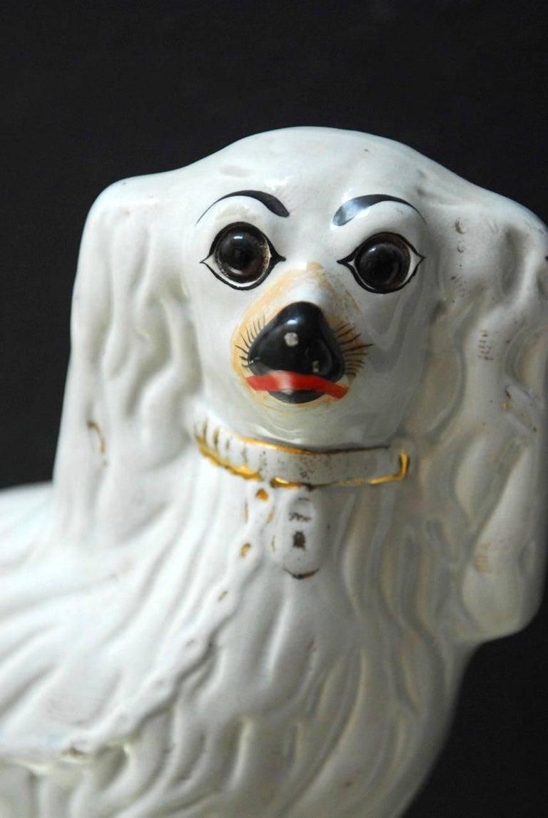 Pair of English Staffordshire Glazed Ceramic Dogs 6