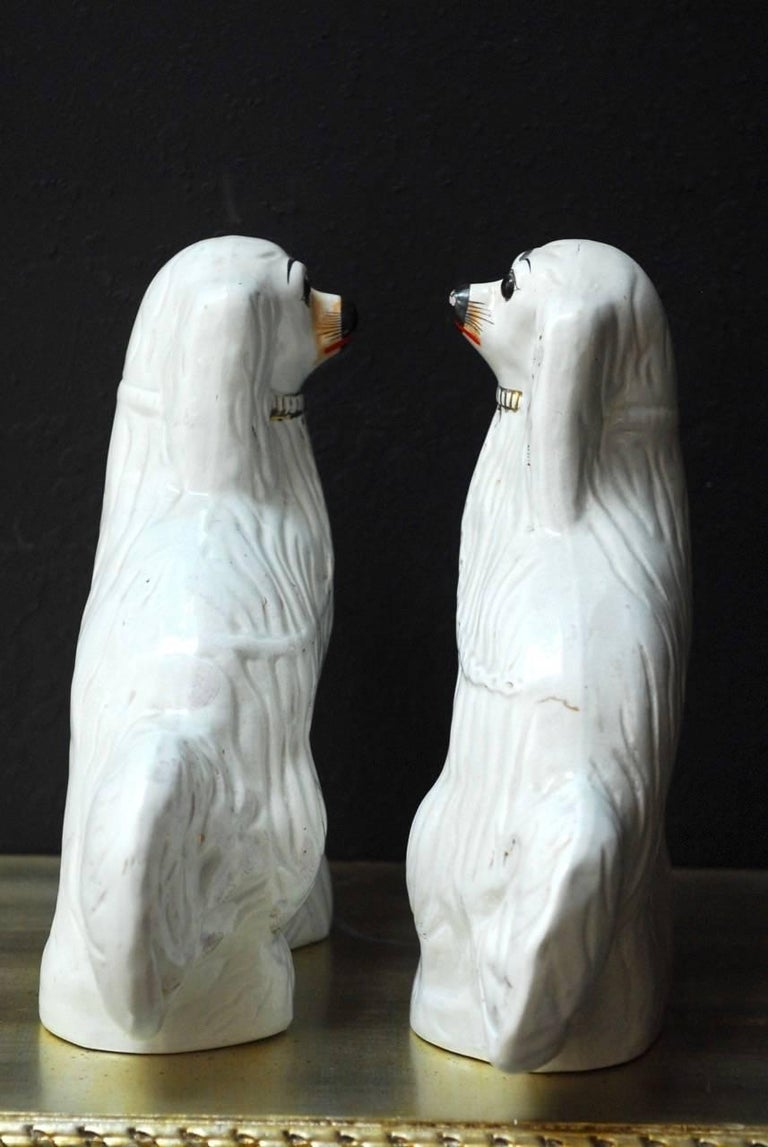 Pair of English Staffordshire Glazed Ceramic Dogs For Sale 2