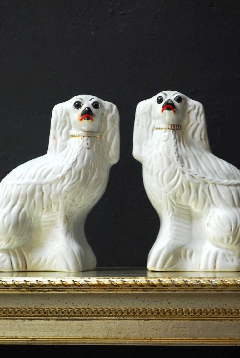 Fine pair of English Staffordshire glazed ceramic spaniels featuring white bodies with remnants of gold decoration. Beautiful craquelure finish and facial expressions.