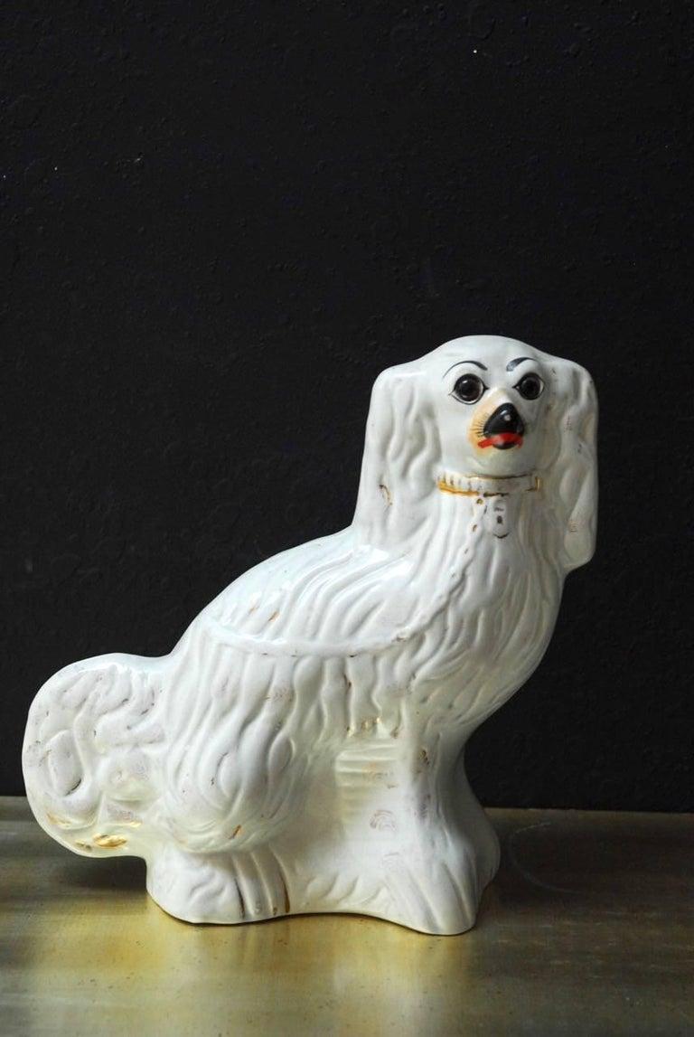 Pair of English Staffordshire Glazed Ceramic Dogs 4