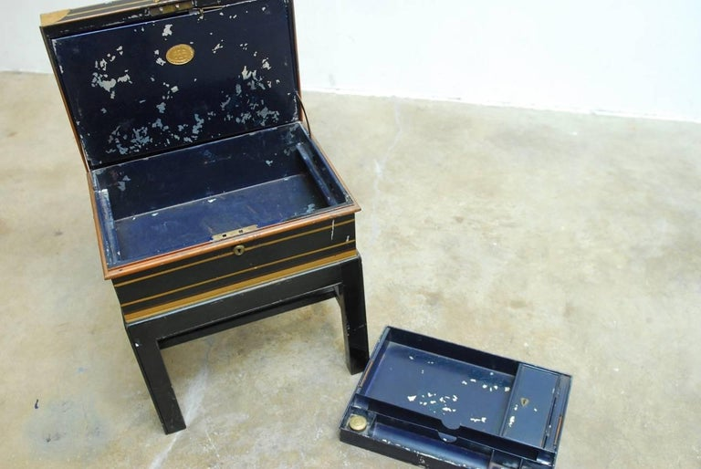 English British Colonial Military Officer's Campaign Metal Field Desk  For Sale
