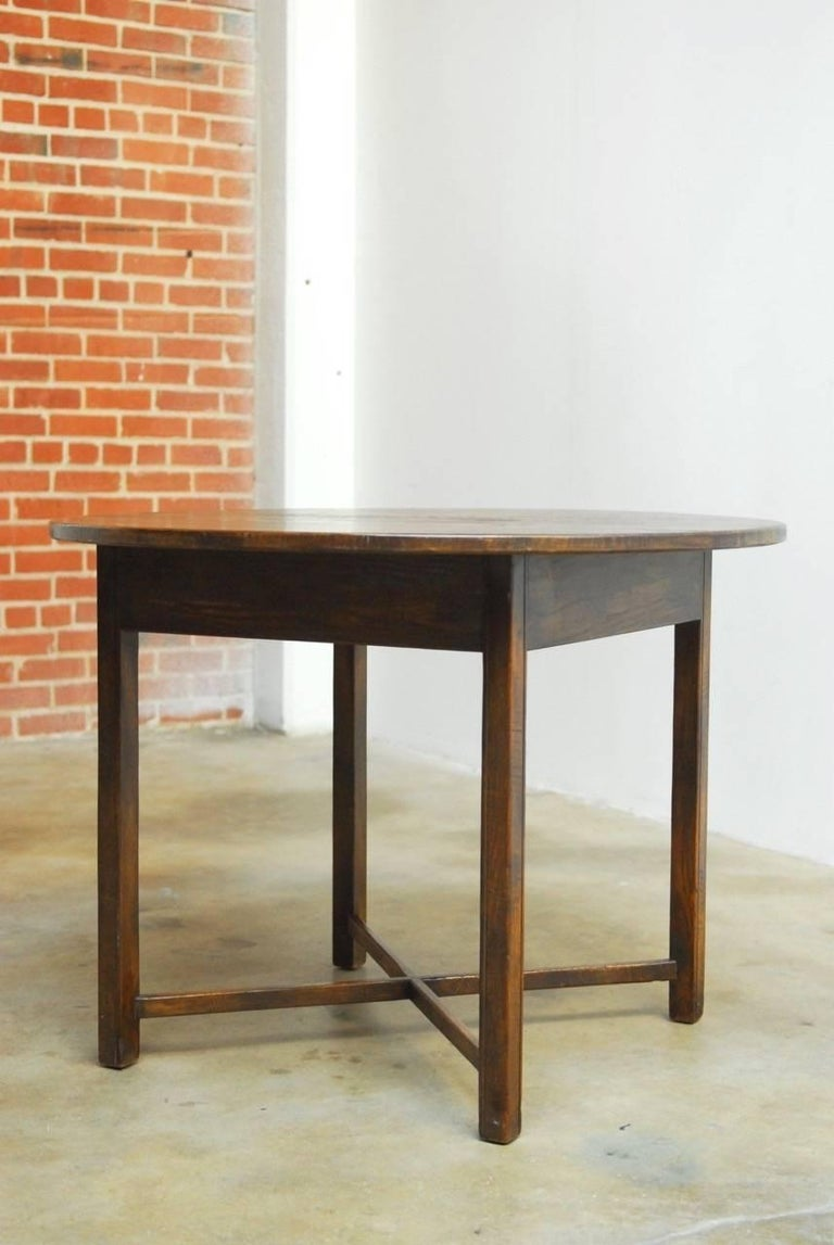 19th century round english oak tavern center table for for Table th center