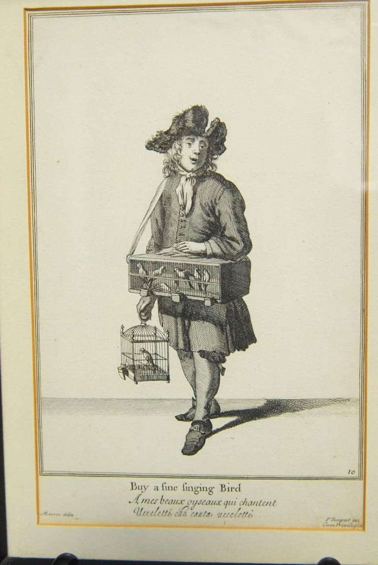 English Set of Six Framed Engravings Cries of London, 1688 For Sale
