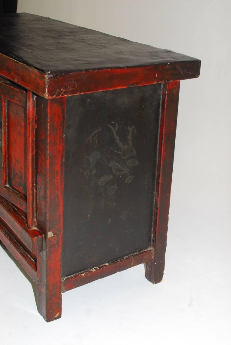 19th Century Chinese Red Lacquer Provincial Coffer For Sale 2