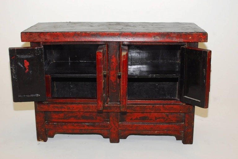 19th Century Chinese Red Lacquer Provincial Coffer For Sale 1